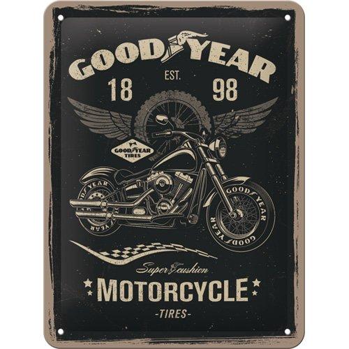Nostalgic-Art 26224 Goodyear - Motorcycle  | Retro Blechschild | Vintage-Schild | Wand-Dekoration | Metall | 15x20 cm
