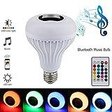 Altoparlante Bluetooth senza fili intelligente RGB Myfei E27, colorato musica giocando con lampadina LED dimmerabile con telecomando per casa, palcoscenico, party KTV Mood Lighting Home Decoration bar