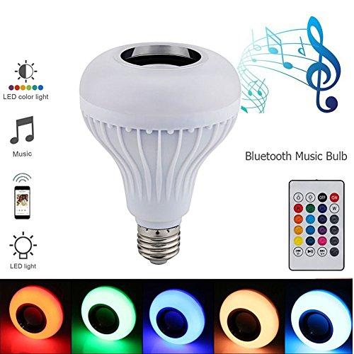 myfei E27Smart RGB Wireless Bluetooth Lautsprecher Glühbirne, Colorful Musik Spielen dimmbar LED Birne Lampe mit Fernbedienung für Home, Bühne, Party BARM Beleuchtung Home Dekoration Bar Kleine Alte Tv