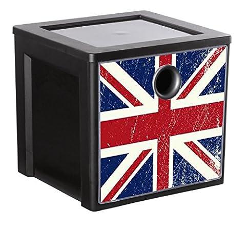 Sundis 4477026 MyDecoBox Cube de Rangement Plastique Noir 25 x
