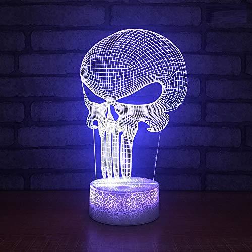 Note Des Nachtlichtes 3D Führte Dekorative Maske Des Lampen-3D Halloween-Schädel-Maskenmodell 3D Beleuchtet Sprungsbasis ()
