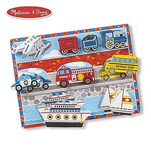 Melissa & Doug - Rompecabezas grande de madera: vehículos (13725) , Modelos/colores Surtidos, 1 Unidad