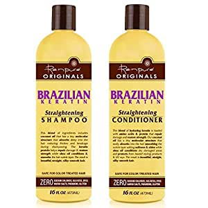 Renpure Organics Brazilian Keratin Straightening Shampoo & Conditioner 16 oz