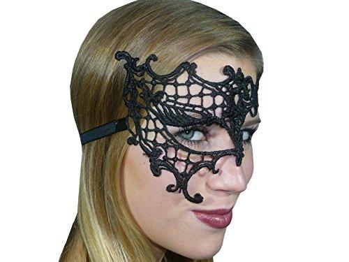 nmaske asymmetrisch Spitze Stickerei Maskenball Venezia schwarz (Halloween-kostüme Dancewear)