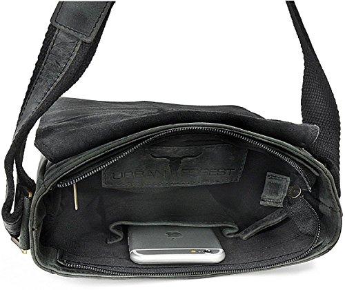 Leder Umhängetasche für Damen Ledertasche für Herren Arbeitstasche aus Leder von URBAN FOREST 20 x 23 x 7 cm, Farbe:Schwarz Schwarz