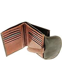 Mesdames Black & Brown en cuir souple Porte-cartes de crédit Compact / Porte-monnaie / Porte-Monnaie Avec / Section - Pour 12 cartes de crédit