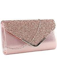 c64c2acf0be02 elfishjp Damen Clutch Glitzer Elegant Abendtasche Glänzend Handtasche Tasche  Umhängetasche Klein in Gold