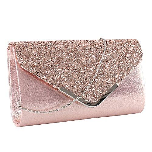 elfishjp Damen Clutch Glitzer Elegant Abendtasche Glänzend Handtasche in Gold, Silber, Pink (Rosa Und Gold Handtasche)