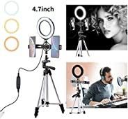 """Avisage 4.7"""" LED Selfie Ring Light for Live Stream/Makeup/YouTube Video, Dimmable Beauty Ringlight with T"""