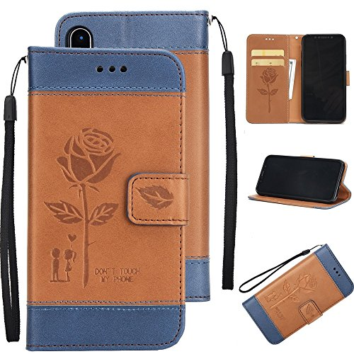 Gemischte Farben Rose Blume matt Premium PU Leder Brieftasche Stand Case Cover mit Lanyard & Card Slots für iPhone X ( Color : Brown ) Brown