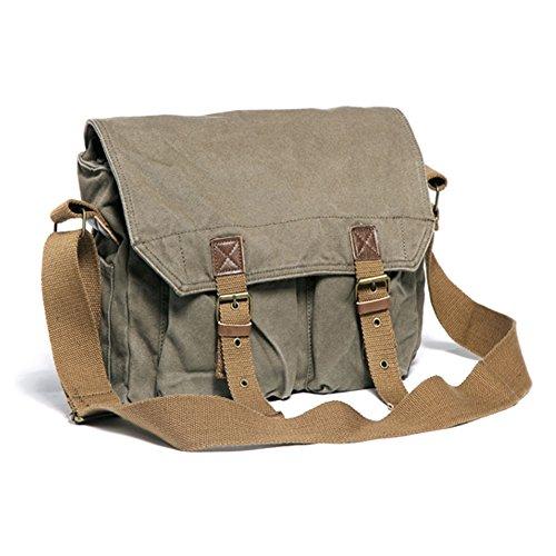 Uomo e studenti Vintage Canvas Shoulder Bag inclinava il sacchetto multifunzionale delle donne Retrò Canvas Bag Leisure Travel Bag Messenger Bag singola spalla Bag Briefcase Laptop Bag Satchel misura  Green