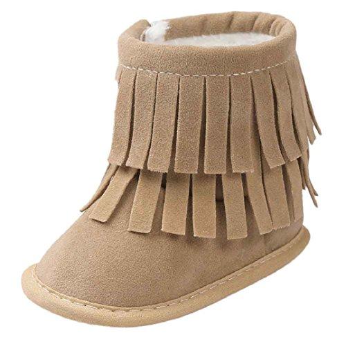 Schön Babyschuhe,Amcool Baby Quasten Weiche Sohle Winter Warme Schuhe Lauflernschuhe Kleinkind Schuhe Stiefel Baby Prewalker Krippe Schuhe (6-9 Monatlich, Rosa) Khaki