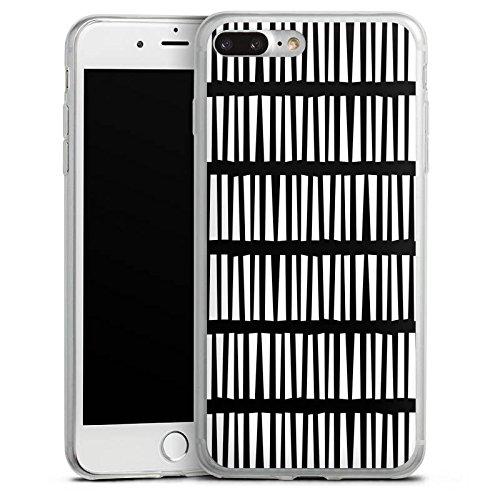 Apple iPhone X Slim Case Silikon Hülle Schutzhülle Linien Streifen Schwarz Weiß Silikon Slim Case transparent