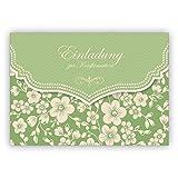 Grüne Vintage Einladungskarte mit Retro Kirschblüten Muster für Mädchen: Einladung zur Konfirmation