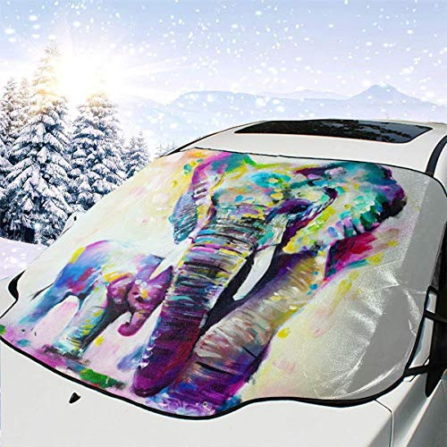 Mattrey Abstract - Parasol para Parabrisas de Coche, diseño de Elefante Africano, Color Acuarela, Negro, Talla única