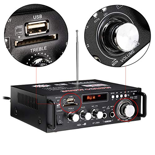 h Stereo-Audiokabel, Heim-/Autoverstärker mit eingebautem FM mit Fernbedienung, 600 W, Bluetooth-Stereo-Audio-Verstärker für Auto zu Hause HiFi Musik SD USB FM AMP 12 V/220 V ()
