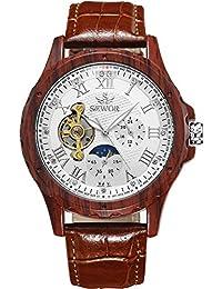 SEWOR reloj para hombre Tourbillon automático marrón grano de madera caso fase de la luna esfera blanca mecánico reloj de pulsera de piel marrón