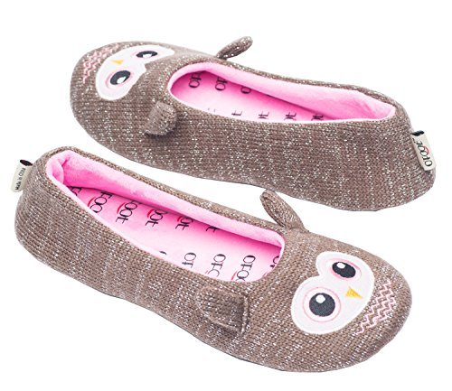 Ofoot Womens Ballerina Fluffy Knit Scuff Slippers,Cute Novelty Animal Face Anti-Slip Rubber Sole House Flat Shoes