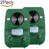 Repelente de gatos, Pack 2 unidades Repelente Ultrasónico para animales, Batería solar, para...