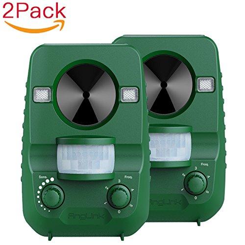 AngLink 2er-Set Solar Katzenschreck Ultraschall abwehr mit Batteriebetrieben und Blitz - Wetterfest - Katzen Vertreiber, Hundeschreck, Marderschreck, Waschbären, Tierabwehr[Neuste Upgrade-Version]