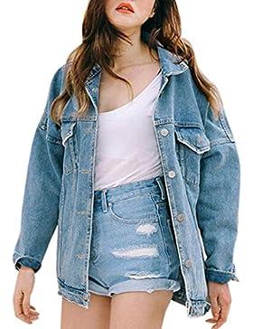 Winwintom Nuevas Mujeres Retro SóLido Streetwear Oversize Loose Jacket Casual Denim Jeans Coat Outwear