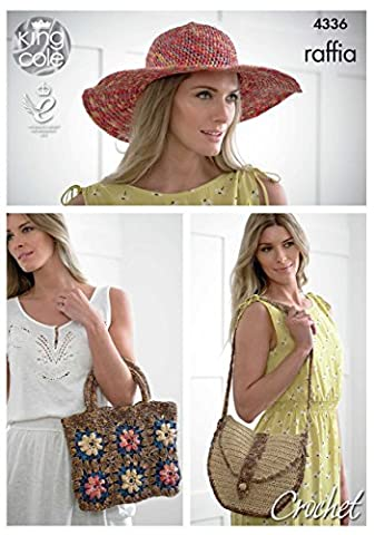 King Cole 4336 Crochet Pattern Crocheted Hat and Bags in King Cole Raffia
