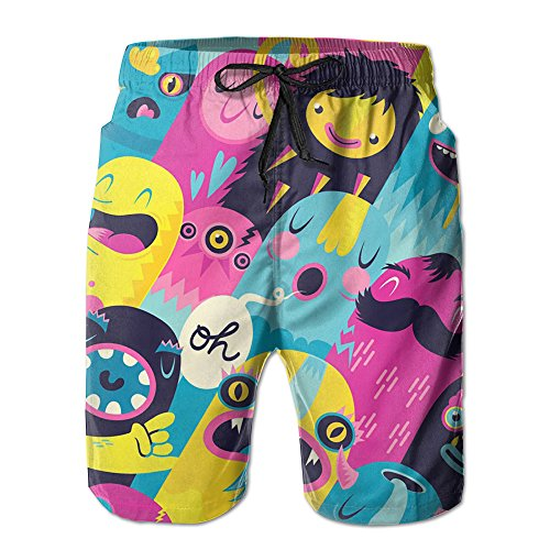 gentle-mens-graffiti-monsters-summer-beach-pants-shorts-thin-fifth-trousers-outdoors-wear