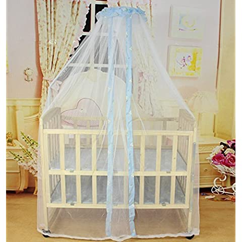 White Baby Halo Bug Mosquito Net For Toddler Nursery Bed Crib Canopy Cot Drape Blue - Canopy Toddler Crib