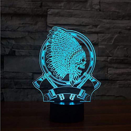 Dwthh Kreative Geschenke Der Vision 3D Indischer Kopfschmuck Schädel-Form-Beleuchtungs-Befestigung UsbFührten Den Schreibtisch 7 Leuchtende Bunte ()