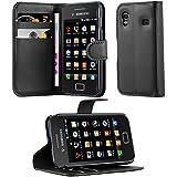 Cadorabo - Funda Samsung Galaxy ACE 1 (1.Generación S5830) Book Style de Cuero Sintético en Diseño Libro - Etui Case Cover Carcasa Caja Protección (con función de suporte y tarjetero) en NEGRO-FANTASMA