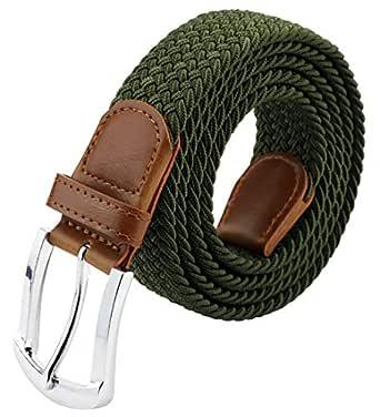 Cintura IN PELLE TELA TESSUTO ELASTICO STRETCH Pin Fibbia Nero Uomo Donna