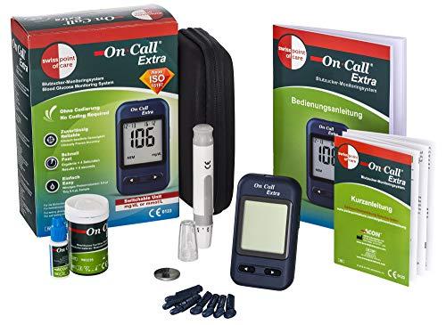 Swiss Point Of Care Extra Blutzucker Messgerät | Praktisches Starterpack mit 10 Teststreifen, 10 Lanzetten, 1 Stechhilfe, Kontrolllösung | sekundenschnelles Ergebnis | Maßeinheit am Gerät umschaltbar