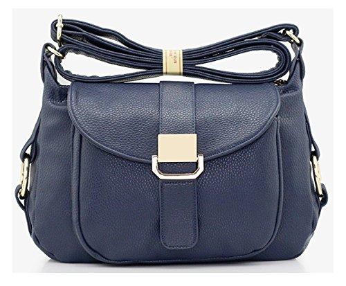 Keshi Leder neuer Stil Damen Handtaschen, Hobo-Bags, Schultertaschen, Beutel, Beuteltaschen, Trend-Bags, Velours, Veloursleder, Wildleder, Tasche Tiefblau