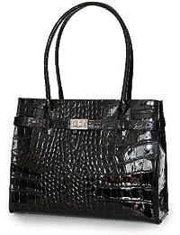 ital Leder Handtasche zauberhaft elegante Midi Kelly Stil Kroko Lack schwarz , 33x25x15 cm (B x H x T)