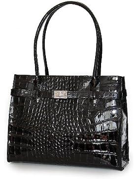 IO.IO.MIO Leder Handtasche oder Schultertasche für Damen Kroko und Glattleder Farbwahl schwarz / braun / cognac