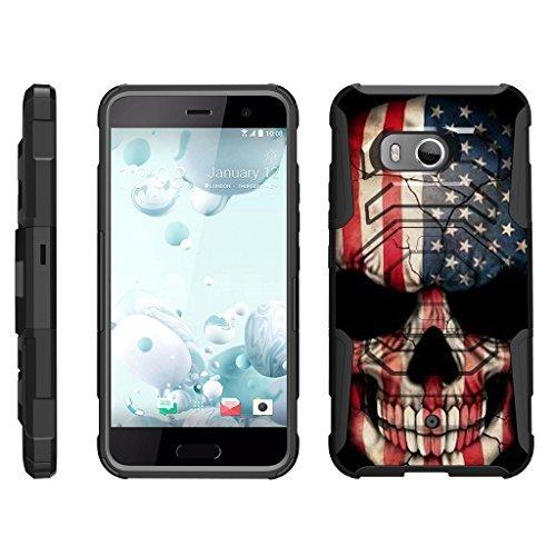 TurtleArmor Schutzhülle für HTC U11 (Octo Guard) Dual Layer Case Gürtelclip Stabiler Ständer, US Flag Skull