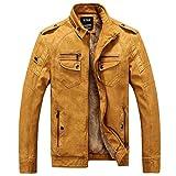 Lihaer Herren Lederjacke mit Fell Retro Biker Style Zip KunstLeder Jacke mit Dickere Gelb XL