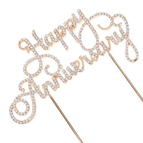 MagiDeal Glänzendes Gold Kuchendeckel Jahrenstag Geburtstag Kuchen Topper Cake Topper Kuchendekoration, Happy Anniversary Muster