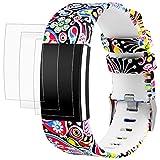 AFUNTA Bracelet pour Fitbit Charge 2 avec Protecteurs d'écran, 1 Bande en Élastomère 16,5cm - 23cm, avec 3 TPU Films de Protection Anti-Rayures