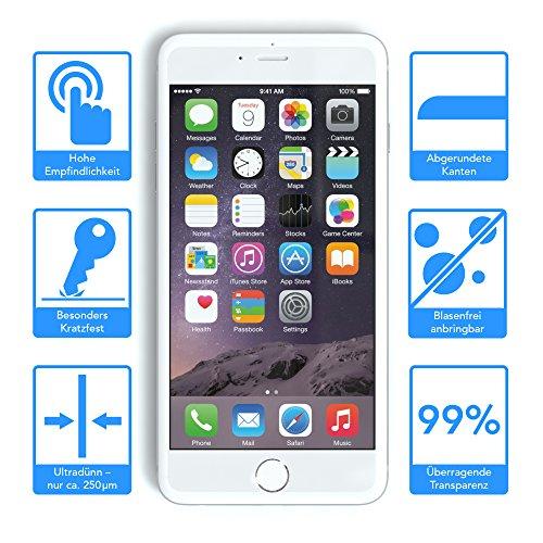 Apple iPhone 6S / 6 Schutzhülle und Glasfolie als Set, EAZY CASE Schutzglas aus gehärtetem Echtglas Panzerglas 9H 0,3mm Displayschutz (mit 3D Touch) Screen Protector 3x Folie