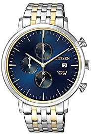 Citizen Stainless Steel Watch, Round Blue Dial Men's, Two Tone (Silver/Gold) Case and Band with Chronograp