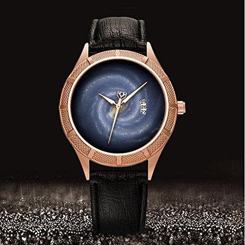 Golden Armbanduhr Kalender Datum dünn Classic Casual Uhr mit Schwarz Leder Band großes Gesicht Uhren Starry Sky series-295. Diese Artist 's Concept Veranschaulicht die New View (Muster Artist)