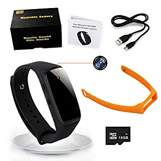 HD 1080P 16GB Buit-in Portable Wristband Spy Camera,Bracelet Hidden Camera watch (Can not show time) Sport DVR