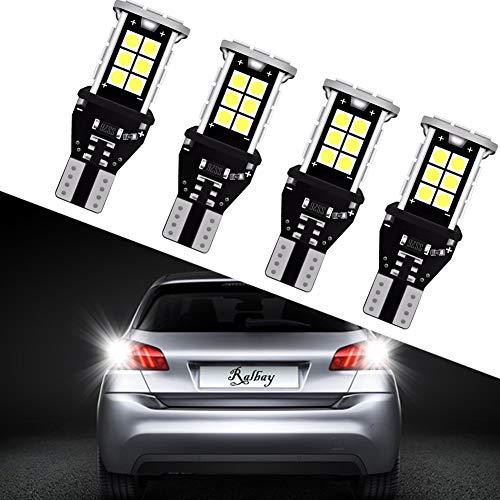 Ralbay 4 x T15 W16W LED Ampoule 912 921 T15 LED 1200Lumens extrêmement lumineux Canbus sans erreur 3030 24-SMD Chipsets Ampoules LED pour lampes inverse sauvegarde, DC 12~24V, Blanc Xénon 6500K