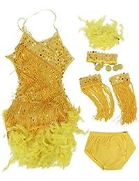 SODIAL(R) Nuevos Vestidos De Danza Latina Con Lentejuela Pluma Para Ninos Traje De Baile De SaloN De La Competencia Vestido Para Las Ninas Negro, S