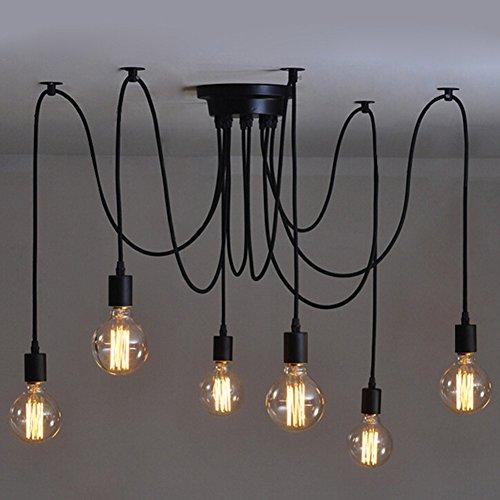 6 Heads Jahrgang industrielle Edison Deckenleuchte Chandelier mehrfach verstellbar DIY Decken Spinne Lampe Pendent Beleuchtung