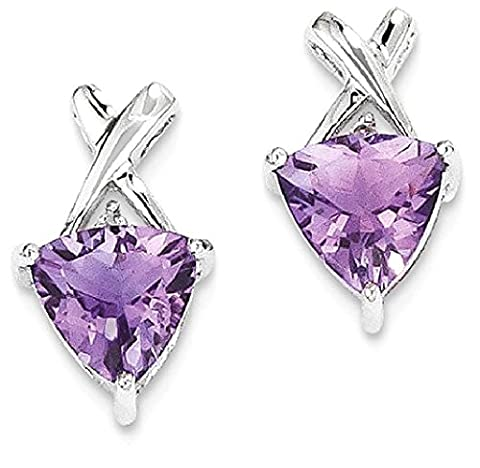 IceCarats 14k White Gold Amethyst White Topaz Trillion Post Stud