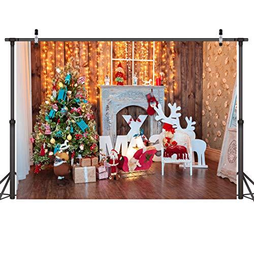 LYWYGG 7x5FT Weihnachten Fotografie Hintergrund Baum Holz Wand Foto Hintergrund Für Baby, Party, Festival Computer Gedruckt für Fotostudio CP-69