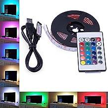 LED Tira de TV, AVAWAY 2M USB Tira de LED Luz Ambiente RGB 5050 + Mando Control Remoto 24 Botones, Cable de USB para Decoración Hogar - Actualizada