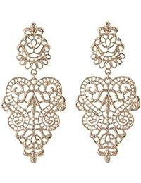 Largo Linayo® Pendientes Victorian Vintage estilo barroco Pointy dorado pendientes